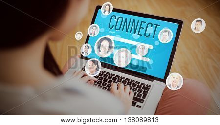 Smartphone apps icons against asian woman using laptop with copy space