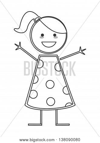 flat design happy girl icon vector illustration stick figure