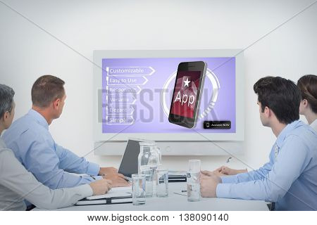 Business team watching whiteboard during a meeting against ad for a new application