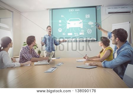 Engineering interface against attentive businessman asking a question
