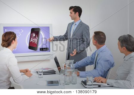 Ad for a new application against businessman pointing the white screen