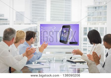 business team clapping during a conference against ad for a new application