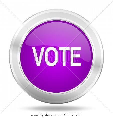 vote round glossy pink silver metallic icon, modern design web element
