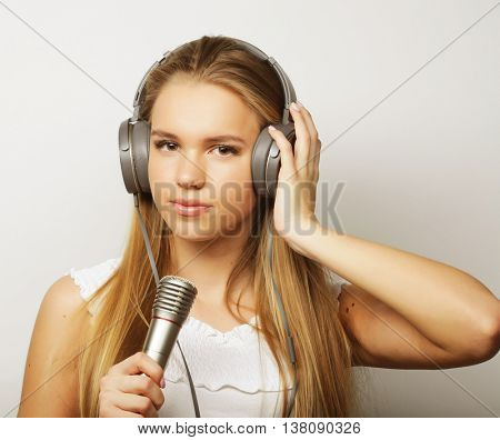 Young singer woman