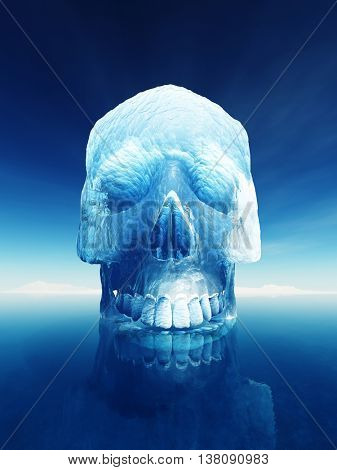 Iceberg in the shape of a human skull. Conceptual image of inherent dangers of an iceberg or the arctic meltdown