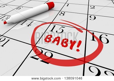 Baby Due Date Delivery Pregnancy Calendar 3d Illustration