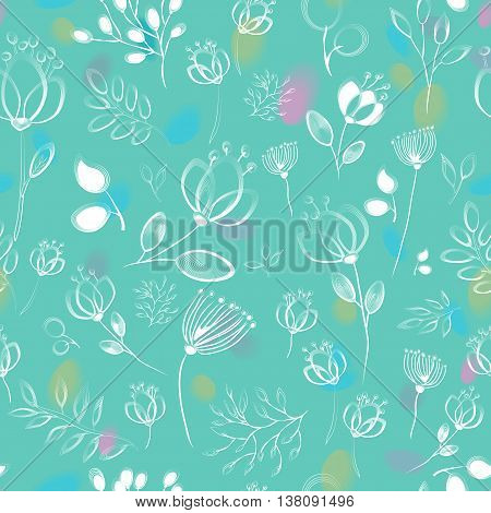 Floral seamless pattern. White floral with green background. Drow effect. Watercolor blurs. illustration
