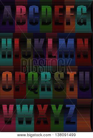 Unusual artistic alphabet. Striped artistic font. Illustration