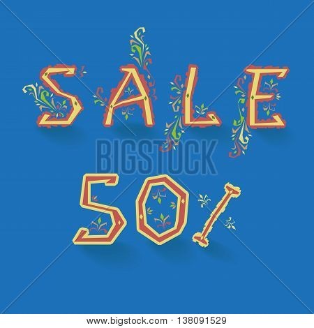 Inscription Sale. Fifty percents. Artistic font. Delicate letters with floral pattern. Illustration