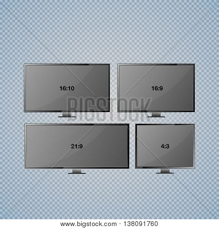 Set computer monitor display isolated on transparent background