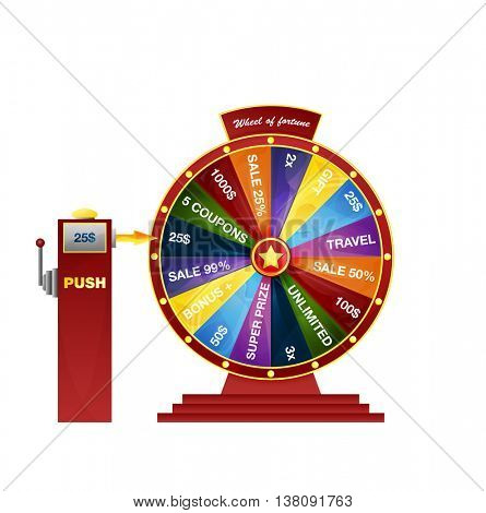 Wheel of fortune design element. Bright colorful wheel of fortune on a pedestal. vector illustration isolated on white background