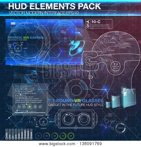 HUD elements for virtual reality. VR glasses. Futuristic user interface. Abstract virtual graphic touch user interface.