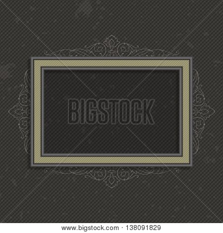 Photo frame vector. Vintage frame on the retro wall.