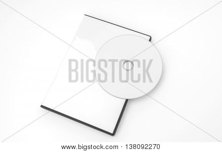Blank compact disc with cover on white background