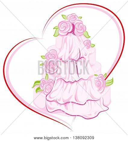 Wedding cake with flowers and veil. Vector illustration