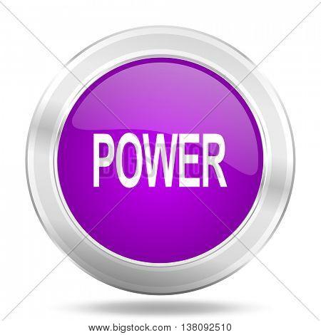 power round glossy pink silver metallic icon, modern design web element