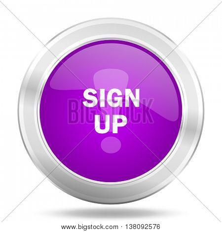 sign up round glossy pink silver metallic icon, modern design web element