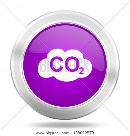carbon dioxide round glossy pink silver metallic icon, modern design web element