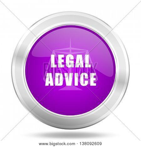 legal advice round glossy pink silver metallic icon, modern design web element
