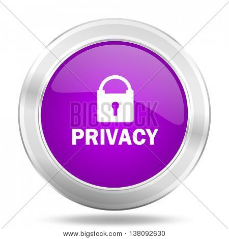 privacy round glossy pink silver metallic icon, modern design web element