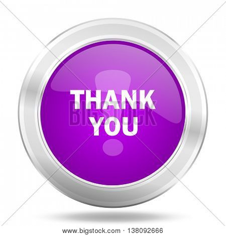 thank you round glossy pink silver metallic icon, modern design web element