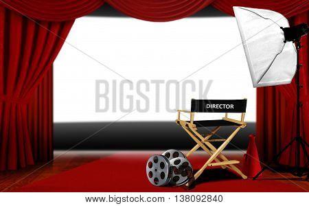 3D rendering director seats and cinema screen