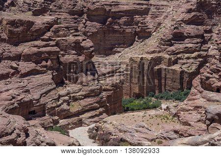 Nabataean Quarry  In Petra Ancient City. View From Al Habis Mountain. Petra. Jordan