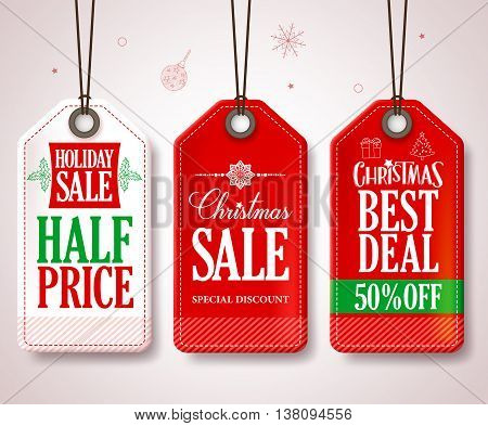Christmas Sale Tags Set for Christmas Season Store Promotions Hanging with Red and White Colors. Vector Illustration.