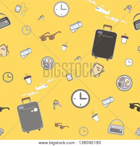 Seamless pattern - Waiting at the airport. EPS 8 vector poster
