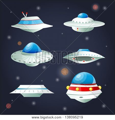 Ufo Set. Spaceship Cartoon Collection. Spacecraft futuristic transportation. Vector Illustration.