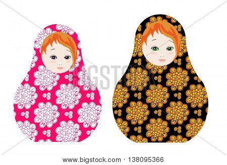 Cute russian dolls - matrioshka. Cute toys with floral ornament. Vector illustration.