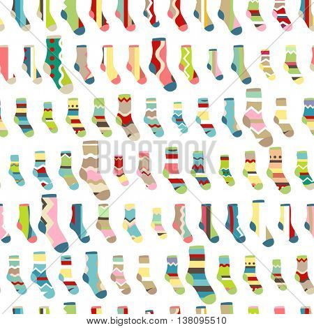 Seamless pattern with  textile Santa socks on white background.