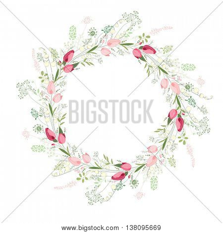 Blank frame made of stylized  pink tulips.    Floral wreath for romantic design,  wedding invitations, advertisement.