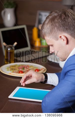 Professional Businessman Working At Desk And Using A Touch Screen Tablet, Technology And Communicati