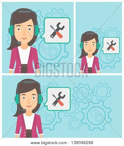 Operator of technical support wearing headphone set. Technical support operator and speech square with screwdriver and wrench. Vector flat design illustration. Square, horizontal, vertical layouts.