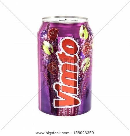 SWINDON UK - JANUARY 11 2014: Can of Vimto on white background Vimto was first manufactured as a health tonic in cordial form then later as a carbonated drink. It contains the juice of grapes raspberries and blackcurrants