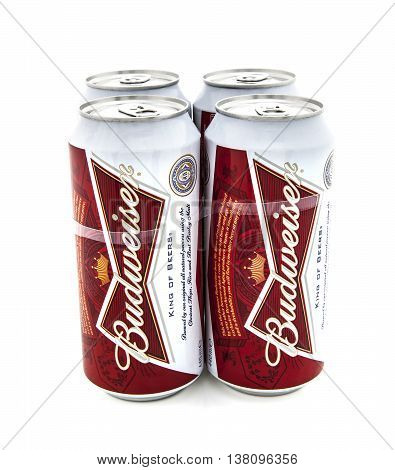 SWINDON UK - JANUARY 28 2014: Four Pack of Budweiser beers on a white background
