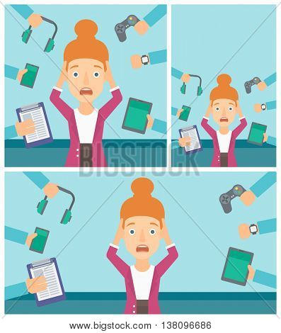 Woman in despair and many hands with gadgets around her. Woman surrounded with gadgets. Woman using many electronic gadgets. Vector flat design illustration. Square, horizontal, vertical layouts.