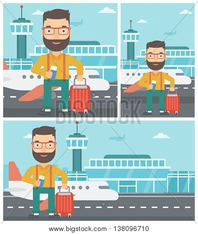 Young hipster man with suitcase holding a passport with ticket at the airport. Vector flat design illustration. Square, horizontal, vertical layouts.