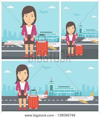 Woman frightened by future flight. Woman standing at airport and suffering from fear of flying. Phobia, fear of flying concept. Vector flat design illustration. Square, horizontal, vertical layouts.