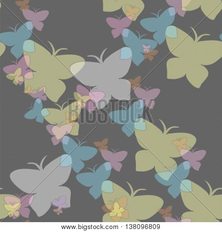 Butterflies hover in the night. EPS 10 vector