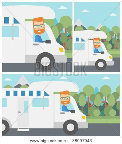 Young hipster man with the beard driving a motor home in the forest. Man travelling by camper van. Vector flat design illustration. Square, horizontal, vertical layouts.