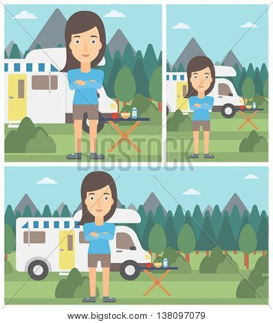 Woman standing in front of motor home. Woman with arms crossed enjoying vacation in camper van. Woman travelling by camper van. Vector flat design illustration. Square, horizontal, vertical layouts.