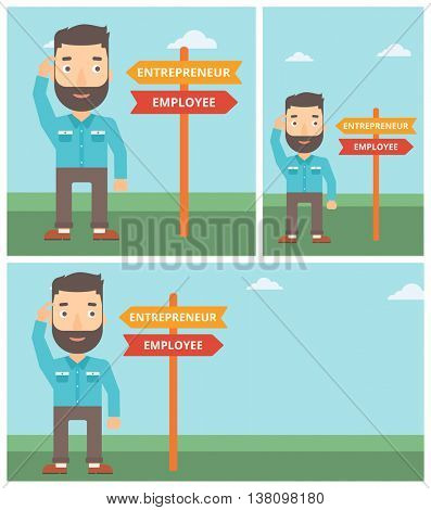 Man standing at road sign with two career pathways. Man choosing career pathway. Man making a decision of his career pathway. Vector flat design illustration. Square, horizontal, vertical layouts.