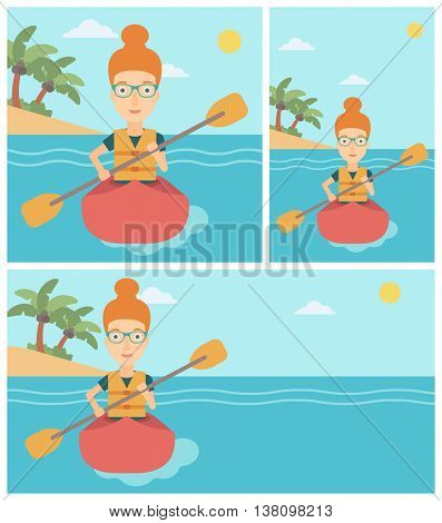 Sports woman riding in a kayak in the sea. Young woman traveling by kayak. Female kayaker paddling. Woman paddling a canoe. Vector flat design illustration. Square, horizontal, vertical layouts.