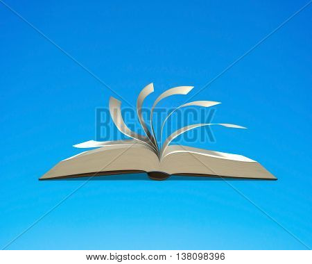 Open Book With Flipping Pages Isolated In Blue Background, 3D Rendering