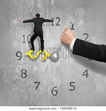 Man Balancing On Usd Clock Hand With Another Holding, Concrete Wall Background, 3D Illustration