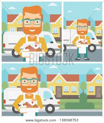 Hipster baker holding a box of cakes. Baker delivering cakes. A baker with cupcakes standing on the background of delivery truck. Vector flat design illustration. Square, horizontal, vertical layouts.