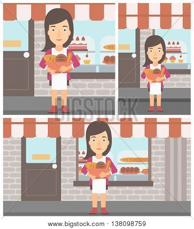 Young female baker holding basket with bakery products. Female baker standing in front of bakery. Baker with bowl full of bread. Vector flat design illustration. Square, horizontal, vertical layouts.