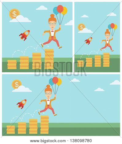 Business woman with balloons flying over golden coins and a business start up rocket flying nearby. Business start up concept. Vector flat design illustration. Square, horizontal, vertical layouts.